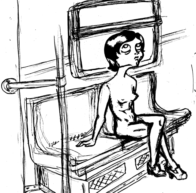 Nina på tunnelbana klädlös